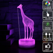 Gift Ideas Girl Giraffe Night Lights 3D Illusion Lamp Animal Light Led Desk Birthday Gifts for Baby Home Decor Office Bedroom Wedding Party Decorations Nursery Lighting 7 Colour Crackle Paint Base
