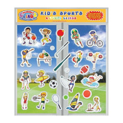 Kids Sports (26pc) Incredible Gel and Window Clings - Puffy Reusable Stickers for Children - Football, Golf, Basketball, Baseball, Soccer & More - Great Home or Travel Activity on Planes or Cars