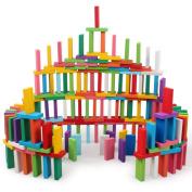 EITC 120Psc Wooden Game Domino Block Set Building Blocks Children Puzzle Toy 10 Colours
