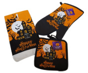 Halloween Haunted House Oven Mitts, Pot Holders and Halloween Hand Towels Set