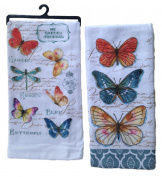 Kay Dee Bundle, My Garden Journal Kitchen Towel Set - Butterfly Garden Theme Terry Towel & Butterfly Garden Theme Flour Sack Towel
