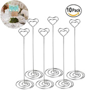 YuKing 10pcs 22cm Tall Place Card Holders Heart Shape Table Number Holder Stands Picture Photo Note Memo Clip for Wedding Decoration
