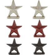 Cottage Red White Brown Iron Star Place Card Holder Set | American Country Patriotic