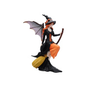 Comfy Hour 20cm Dark Fairy Witch Riding On A Broom, Polyresin Crafted Figurine, Halloween Gift