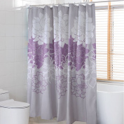 HOMEIDEAS Peony Flower Fabric Shower Curtain Waterproof Mildew Resistant Standard 180cm for Bathroom,Purple and Grey Floral 100% Polyester with 12 Hooks