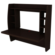 Tangkula Wall Mount Floating Computer Desk Storage Two Shelf Laptop Computer Home
