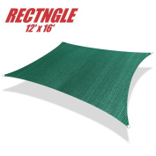 ColourTree 3.7m x 4.9m Sun Shade Sail Canopy Rectangle Green - Commercial Standard Heavy Duty - 160 GSM - 4 Years Warranty