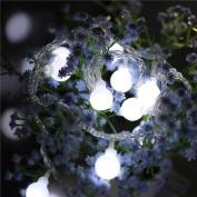 2.5M 20LED Fairy String Light Ball Shaped Curtain Lamp Party Wedding Outdoor Decor,3×AA Batteries,Garden, Patio, Lawn, Gate, Yard, Porch DIY,Tuscom