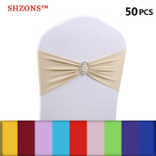 SHZONS 50 x Elastic Spandex 15cm x 35cm Chair Cover Sashes for Wedding Party Events, Wider Chair Back Decor with Buckle, No Need to Tie