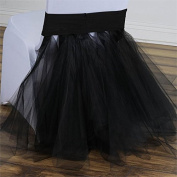 BalsaCircle Spandex with Tulle Tutu Chair Cover - Black