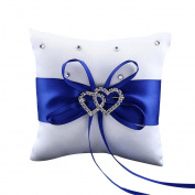 Acamifashion Wedding Ring Bearer,Elegant Satin Bowknot Rhinestone Wedding Bridal Ring Bearer Pillow Cushion - Blue