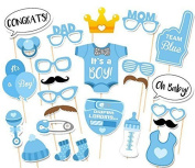 Simplewoo Boy Baby Shower Photo Booth Props It's a Boy Gender Reveal Party Favours Party Masks on Sticks, Set of 25pcs
