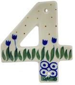 Polish Pottery Hanging Number Four (10cm ) made by Ceramika Artystyczna