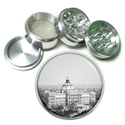 """Washington DC USA Monuments S6 Chrome Silver 2.5"""" Aluminium Magnetic Metal Herb Grinder 4 Piece Hand Muller Herb & Spice Heavy Duty 63mm"""