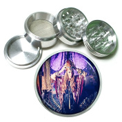 """Vintage Gypsy Women Fortune Teller S9 Chrome Silver 2.5"""" Aluminium Magnetic Metal Herb Grinder 4 Piece Hand Muller Herb & Spice Heavy Duty 63mm"""