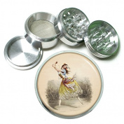 """Vintage Gypsy Women Fortune Teller S3 Chrome Silver 2.5"""" Aluminium Magnetic Metal Herb Grinder 4 Piece Hand Muller Herb & Spice Heavy Duty 63mm"""
