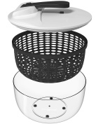 Vremi Large Salad Spinner - 6l Capacity & BPA Free Collapsible Vegetable Dryer - Clear Bowl with Lid and Colander Basket Insert - 6 Litre Lettuce Spinner with Easy Spin Locking Handle - Black