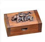 Vintage Thai Teak Wood Box With Elephants ,100% Handmade Teak Wood Portable Toothpick Holder Mini Wood Box Terya Pocket Toothpick Holder