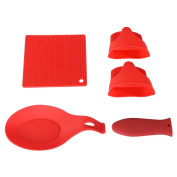 Core Aim Kitchen & Baking Utensils set- Silicone Trivet mat, Hot Pot handle holder, Spoon Rest and Silicone Microwave Mitts