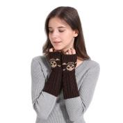 Aurorax Women Winter Warm Long Fingerless Knitted Gloves Screen Touch Plain Basic Fingerless Gloves