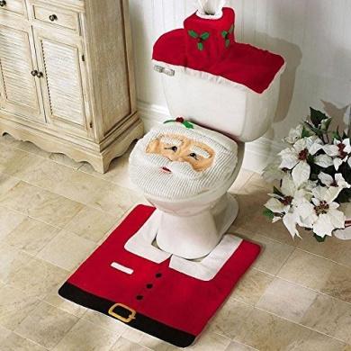 Happy Santa Toilet Seat Cover and Rug Bathroom Set