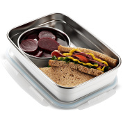 Komax Stenkips Stainless Steel Food Storage Lunch box and dressing Kit (set of 2 ) Large 1700ml - Airtight, Leakproof With Locking Lids - BPA Free contaiers - Microwave, Freezer and Dishwasher Safe