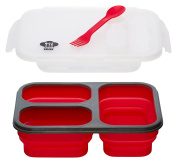 Kitchen Pro 101 Expandable & Collapsible Bento Box Silicone Container Children/Adult Lunch Box, 3 Compartments