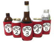 """Funny Neoprene Can Koozie/Coolers """"Bitch 2.5cm - 13cm Set - Red"""