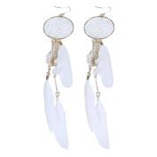 Lavany Women's Bohemia Feather Beads Long Design Dream Catcher Earrings Jewellery