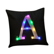 Pillow case Christmas,Todaies Christmas Lighting LED Pillow case Letter Printing Cushion Cover Home Decor