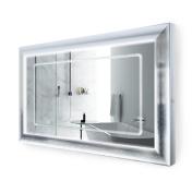 LED Lighted 120cm x 80cm Bathroom Satin Silver Framed Mirror w/ Defogger