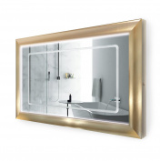 LED Lighted 120cm x 80cm Bathroom Gold Frame Mirror w/ Defogger