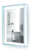 "LED Bathroom Mirror 50cm X 80cm | ""GlasHaus"" Lighted Vanity Mirror w Glass Frame & Shelf | Includes Defogger & Dimmer | Wall Mount"