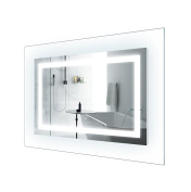 LED Lighted 110cm x 80cm Bathroom Mirror With Glass Frame | Horizontal or Vertical Installation |