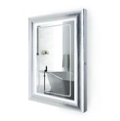 LED Lighted 60cm x 90cm Bathroom Satin Silver Framed Mirror w/ Defogger