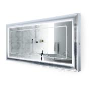 LED Lighted 150cm x 80cm Bathroom Satin Silver Framed Mirror w/ Defogger