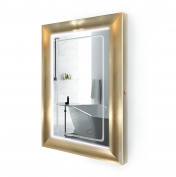LED Lighted 60cm x 90cm Bathroom Gold Frame Mirror w/ Defogger
