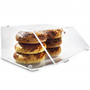 Ikee Design Acrylic Stackable Backery Display Case for Bagels with A Hinged, Slanted Door 30cm W x 28cm D x 15cm H