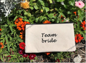 Wedding Gift Bag, Canvas Bride Makeup Bag, Pouch with Zipper Closure,Bride Cosmetic Bag,Bridesmaid, Mother of Groom
