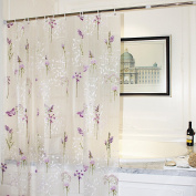 Adwaita Mildew Resistant Anti-Bacterial PEVA Shower Curtain Printed Purple Flower, 72x72 - Non Toxic, Eco-Friendly, No Chemical Odour, Rust Proof Grommets With 12 C Hooks