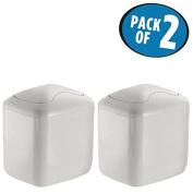 mDesign Wastebasket Trash Can for Bathroom Vanity Countertops - Pack of 2, Light Grey