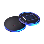 XCSOURCE 2pcs Solar Powered LED Coaster Acrylic Cup Holder Pad, Blue LED Display Base for Cup Drink Wine Bottle LD1095
