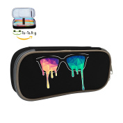 Cool Pen-Low Poly Glasses Large Capacity Pen Bag Canvas Pencil Case Stationary Box Double Zipper For Girls Boys-Black