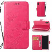iPhone X Wallet Case,ARSUE Vintage Emboss Butterfly Flower PU Leather Wallet Case with Card Slots & Stand Flip Cover for iPhone X 2017 - Hot Pink