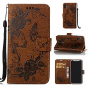 iPhone X Case, ARSUE iPhone X Wallet Case [3 Card Slots] [Stand Feature] Butterfly Flower PU Leather Flip Wallet Protective Case Cover for iPhone X 2017 - Brown