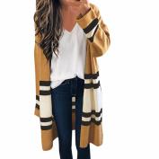 Women Autumn Winter Long Sleeve Loose Casual Striped Sweater Open Front Cardigan Coat