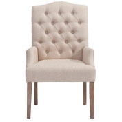 Worldwide Homefurnishings Inc. Lucian Linen Button Tufted Single Accent Chair Beige