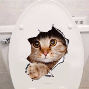Vinyl waterproof Cat 3D Wall Sticker Hole View Bathroom Toilet Living Room Home Decor Decal