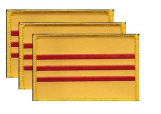 PACK of 3 South Vietnam Flag Patches 8.9cm x 5.7cm , South Vietnamese Embroidered Iron On or Sew On Flag Patch Emblem