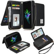 iPhone X Removable Wallet Case, LefRight Vegan Leather Magnetic Flip [12 Card Slots] Zipper Handbag [Wrist Strap]